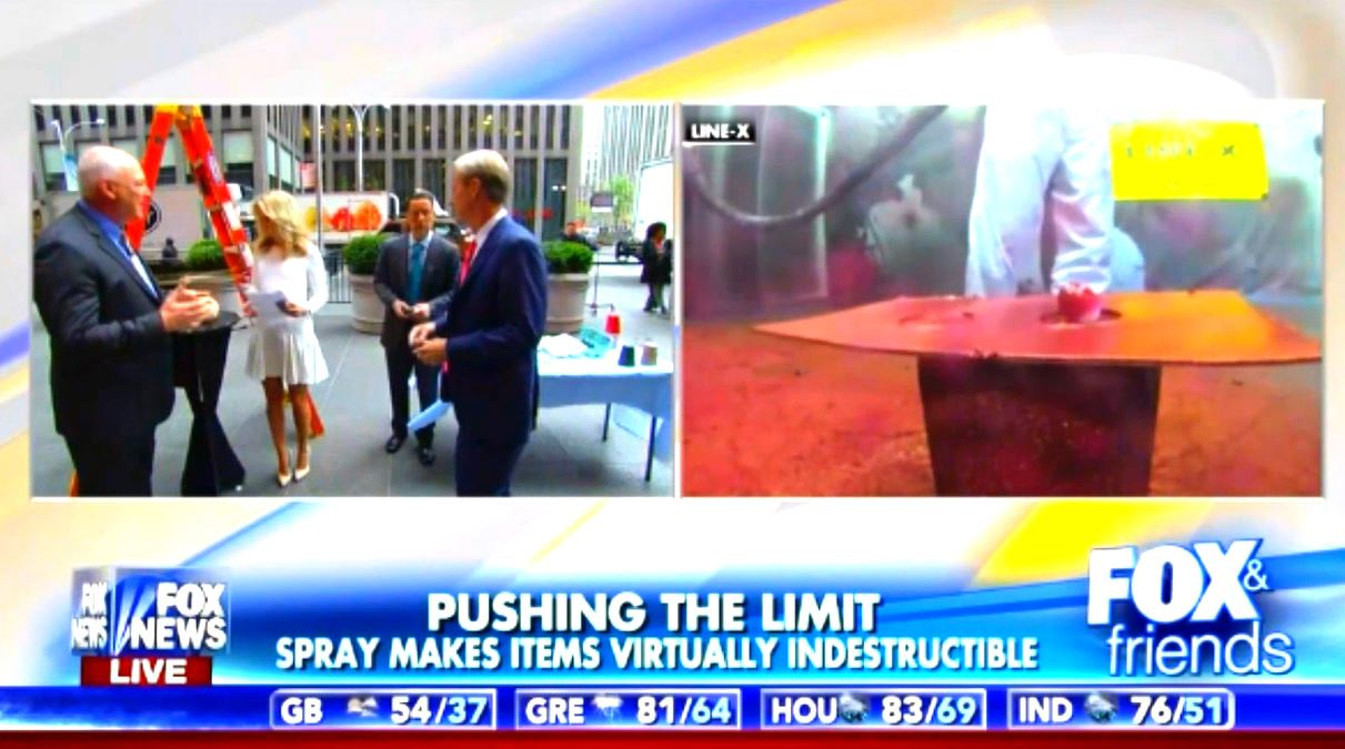 FOX & Friends Live News Line-X Spray Makes Items Virtually Indestructable